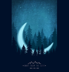 Silhouette forest at night sky woodland vector