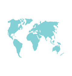 Simple flat world map silhouette vector