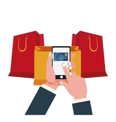 Smartphone shopping and ecommerce design vector