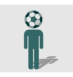 Soccer fan with ball instead head vector image