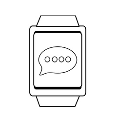 square watch and message icon graphic vector image