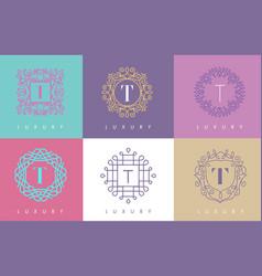 t letter pastel floral monogram lines logo design vector image