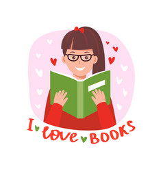 teenage girl reading book vector image