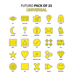 universal icon set yellow futuro latest design vector image