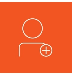 User profile with plus sign line icon vector