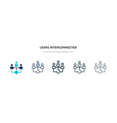 Users interconnected icon in different style two vector