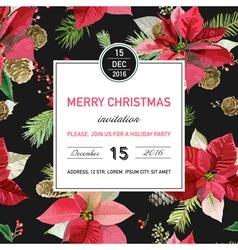 Vintage Poinsettia Christmas Invitation Card vector image