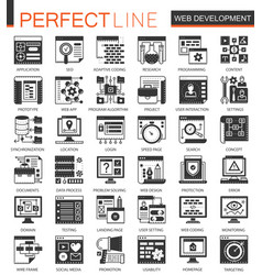 web development black mini concept icons and vector image