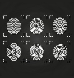 white fingerprints icons collection on chalkboard vector image