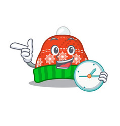 With clock winter hat in mascot shape vector