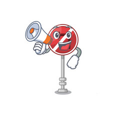 with megaphone no left turn on mascot vector image