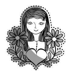 woman with flowers branches and heart vector image