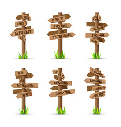 wooden arrow signboards direction set vector image