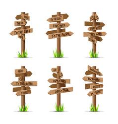 Wooden arrow signboards direction set vector