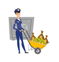 caucasian police woman with confiscated money vector image