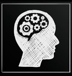 chalkboard head brain gear business man idea vector image vector image