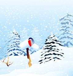 Christmas Greetings and Winter landscape vector image vector image