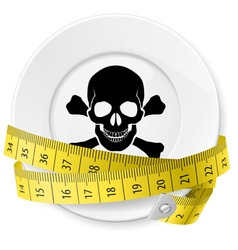 crossed spoon and fork plate Diet metr 04 vector image