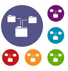 folders structure icons set vector image