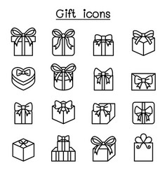 Gift box icon set in thin line style vector