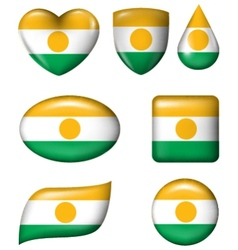 Niger Flag in various shape glossy button vector image