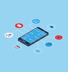 smartphone applications icons isometric vector image vector image