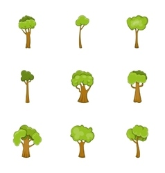 Abstract tree icons set cartoon style vector image