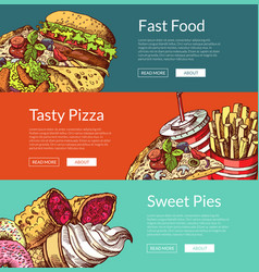 banners with fastfood burgers ice cream vector image vector image