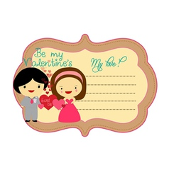 Be my valentines about label vector image