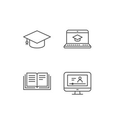 book graduation cap and video tutorial icons vector image