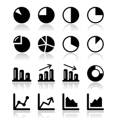 Chart graph black icons set for infographics vector image