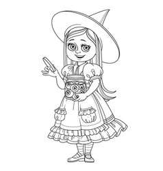 cute girl in witch costume holding a big jar with vector image vector image