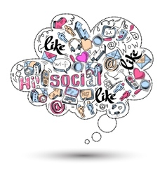 Doodle social media infographics vector image vector image