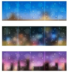 Drops on window glass Seamless banners vector image