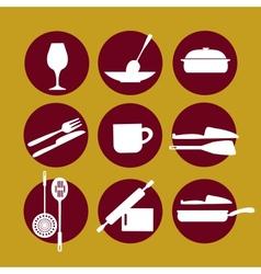 kitchenware icon set on yellow vector image vector image