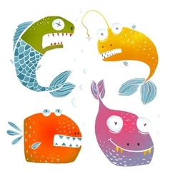 Colorful fish characters cartoon collection vector