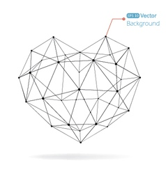 Geometrical heart background with lines vector image