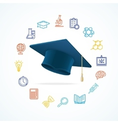 Science Education Concept and Icons Set vector image vector image
