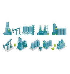 Set of isometric end 2D factory oil vector image vector image