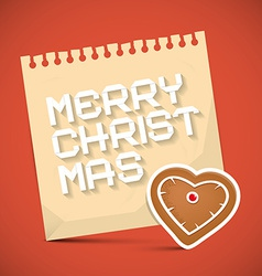 Merry Christmas Card with Gingerbread Heart and vector image vector image