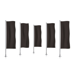 Row of black vertical banner flags vector