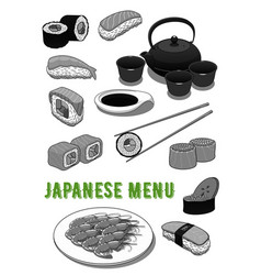 seafood sushi rolls for japanese menu vector image vector image