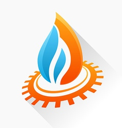 symbol fire with gear Orange and blue flame glass vector image vector image