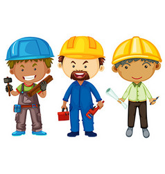 Three men with different jobs vector image vector image