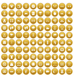 100 tennis icons set gold vector