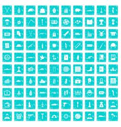 100 war crimes icons set grunge blue vector