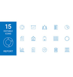 15 report icons vector image