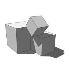 3d image - simple isolated scattered box cubes vector image