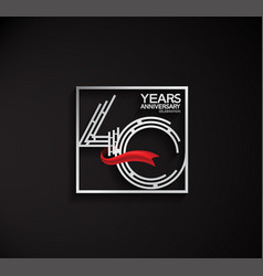 40 years anniversary logotype with square silver vector