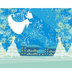 Abstract Christmas card with angel vector image
